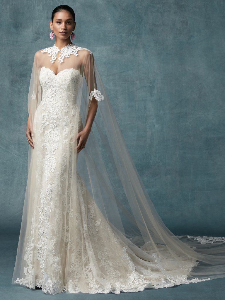 3aa3aa86538 England Dawn (9MC034ZU) Lace Wedding Dress with Cape by Maggie Sottero