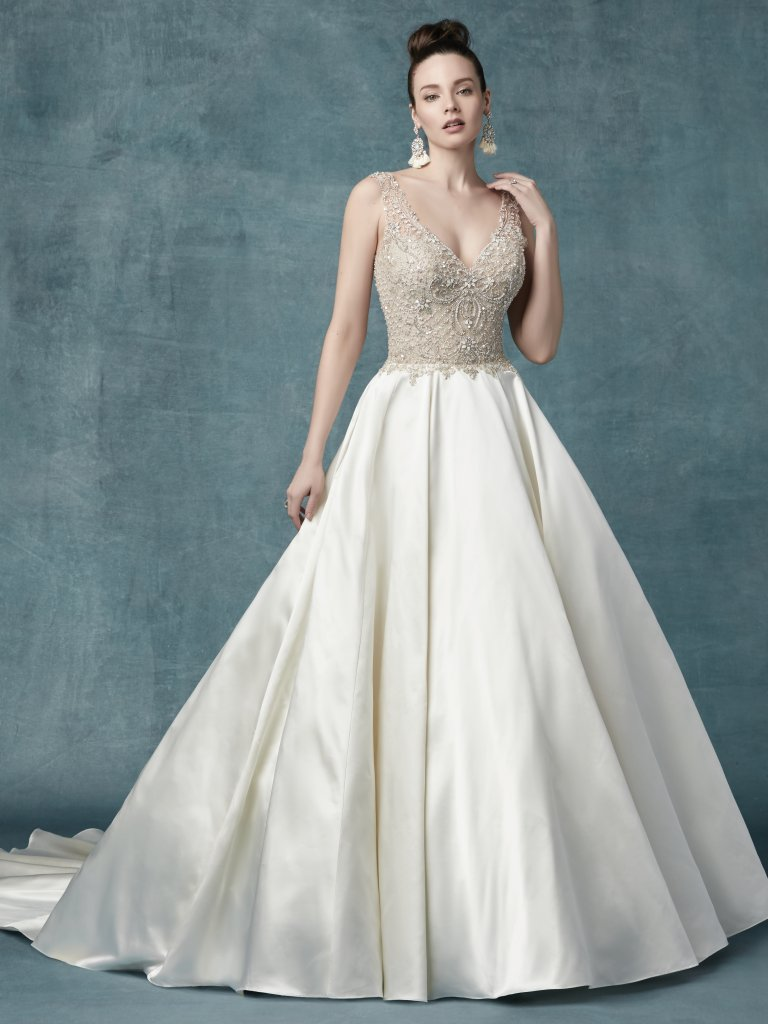 Wedding Dress Color Guide: Shades of White for Every Bride. Diamond white wedding dresses by Maggie Sottero - Sophronia