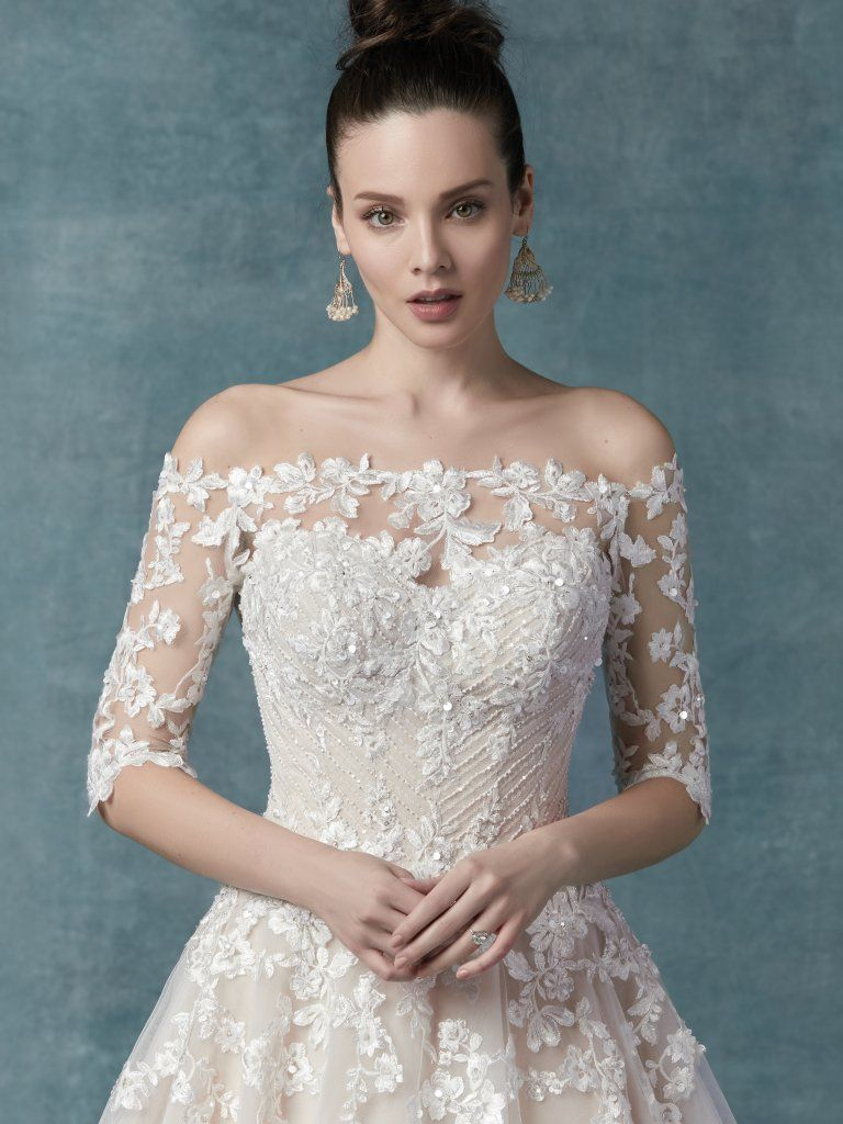 Vintage Wedding Gowns with Geometric Details - Zinaida wedding dress by Maggie Sottero