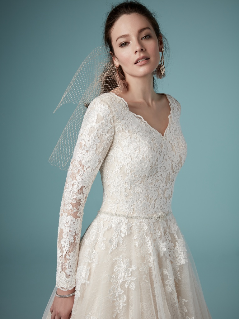 Shiloh Leigh (9MS875) Long Sleeve Modest Lace Wedding Dress by Maggie Sottero