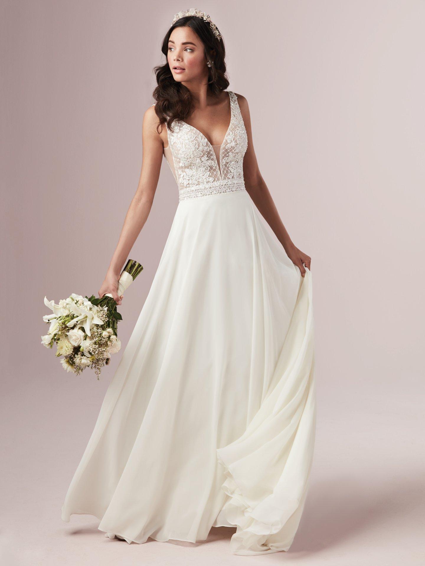 Mildred by Rebecca Ingram Chiffon Boho Wedding Dress