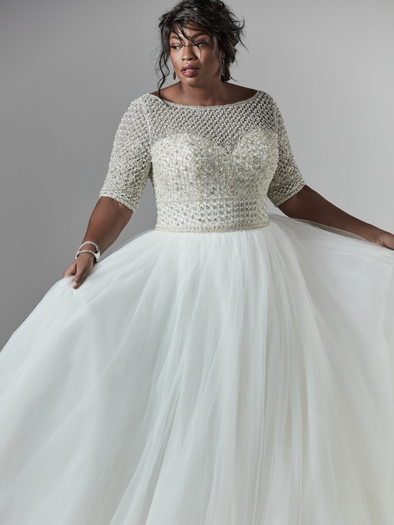 The Ultimate Guide to Wedding Gowns for Curvy Brides from Whitney of CurveGenius - Try the Allen Lynette wedding dress by Maggie Sottero if you're a tall and curvy bride.