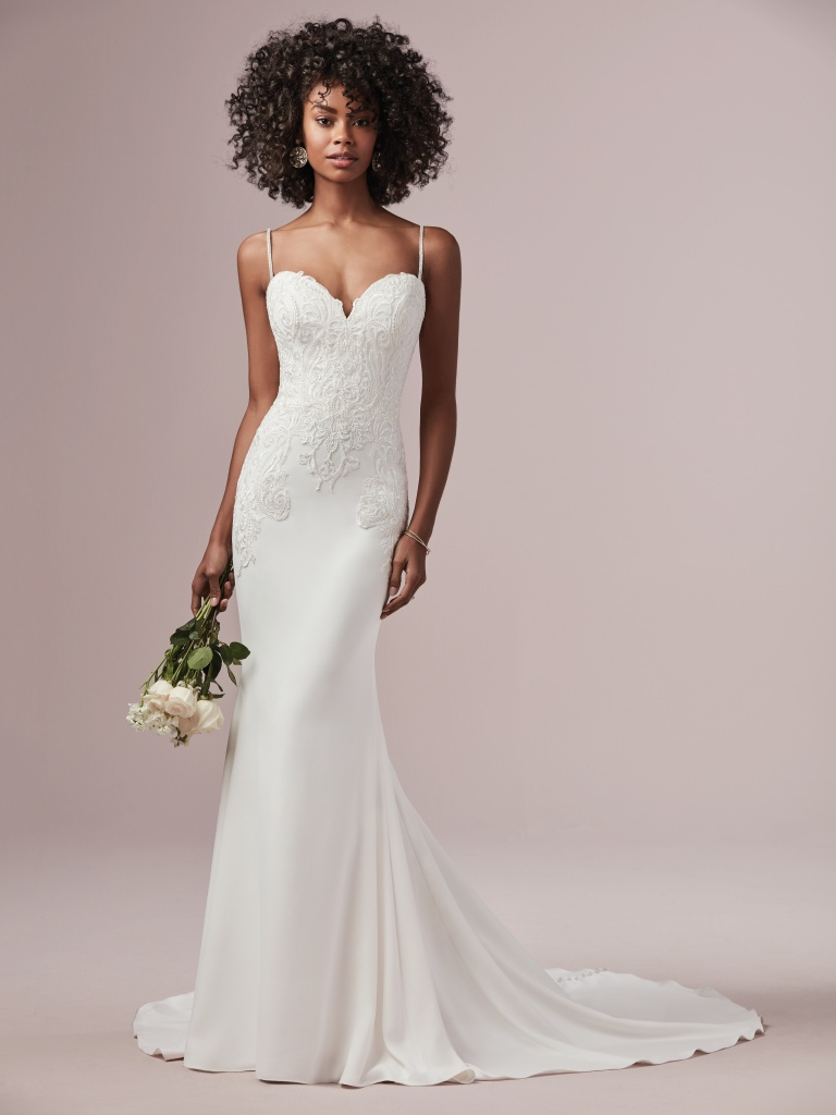 Destiny (9RW886) Simple Crepe Wedding Dress by Rebecca Ingram