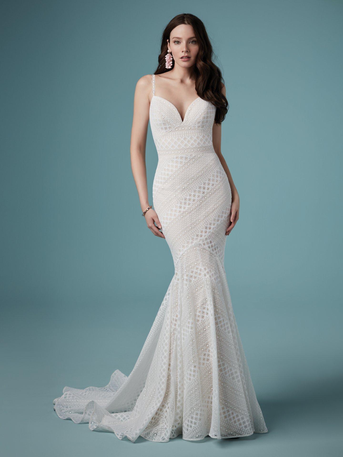 Maggie Sottero Lilana bohemian lace wedding dress bodice