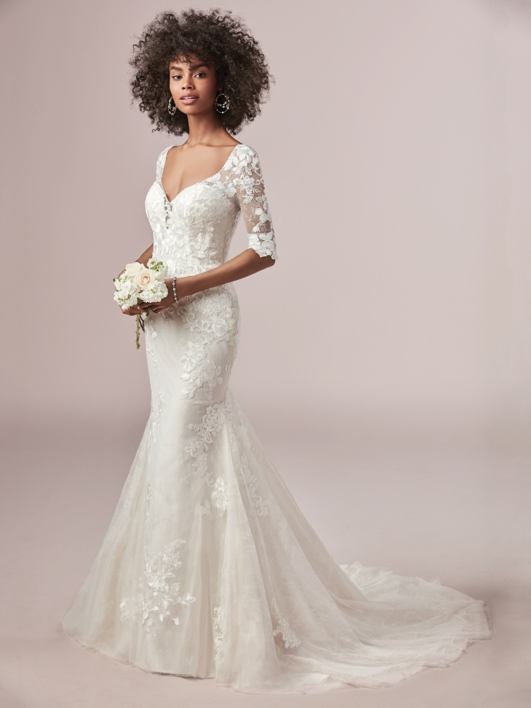 Mandy Dawn (9RW804LS) Illusion Lace Sleeve Wedding Dress by Rebecca Ingram