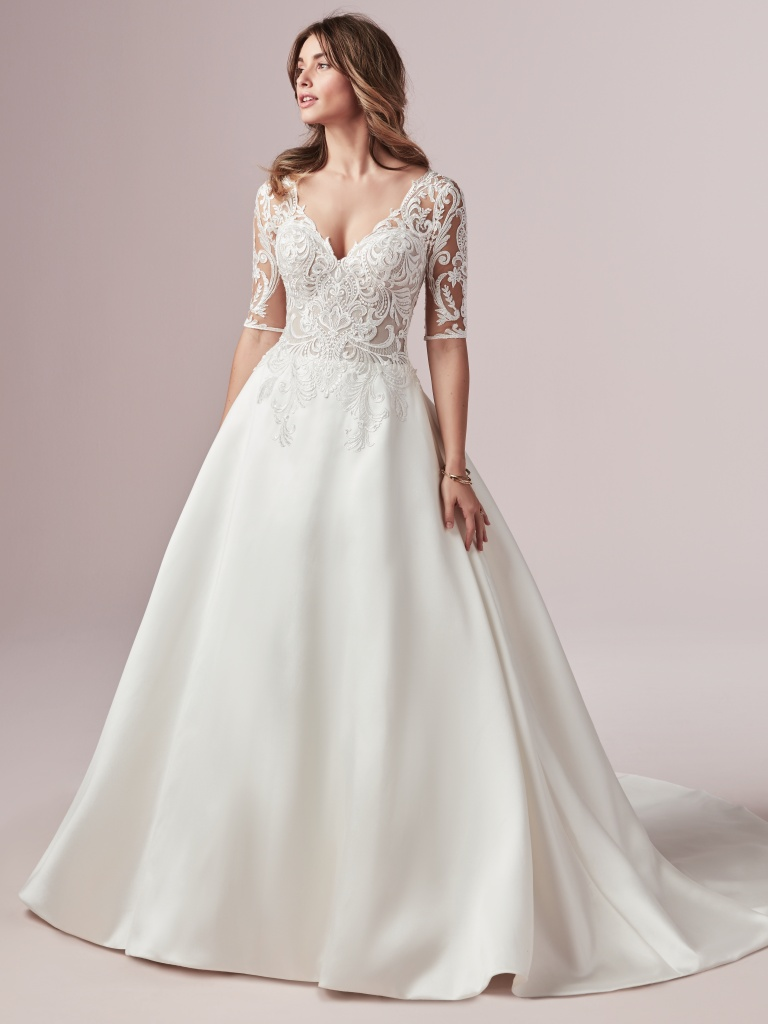 Spencer (9RS919) Half Sleeved Lace and Mikado Wedding Dress by Rebecca Ingram