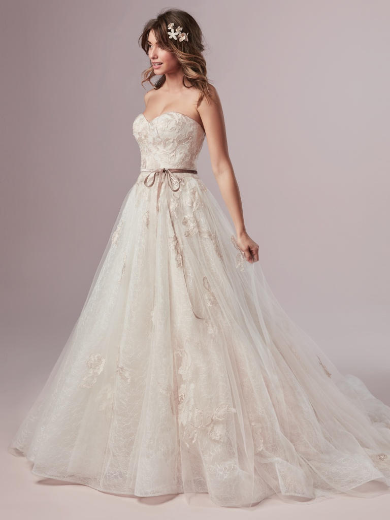 Summer (9RN859) Blush Lace A Line Wedding Dress with Velvet Ribbon by Rebecca Ingram