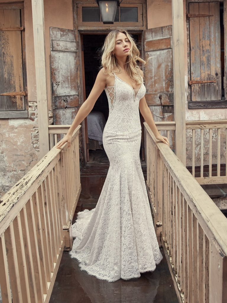 Lucille (9RC915) Mermaid Lace Wedding Dress by Rebecca Ingram